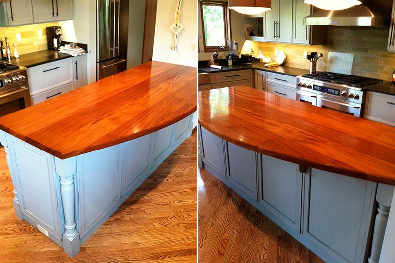 Awesome Wood Type: Jatoba / Brazilian Cherry Thickness: 1.5 Construction Style:  Plank Edge Finish: Chamfered Finish: Waterlox Satin Jatoba Ellipse Kitchen  Island ...