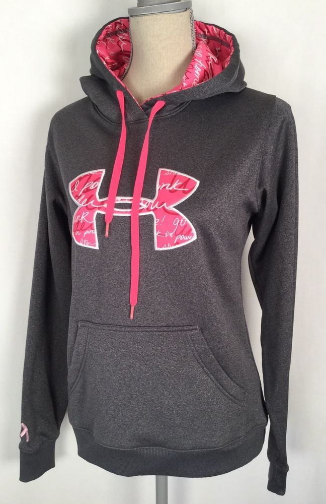 UNDER ARMOUR Storm Gray Pink Hoodie BREAST CANCER AWARENESS Woman s Sz  Small  UnderArmour  Hoodie bb04cdf4174a