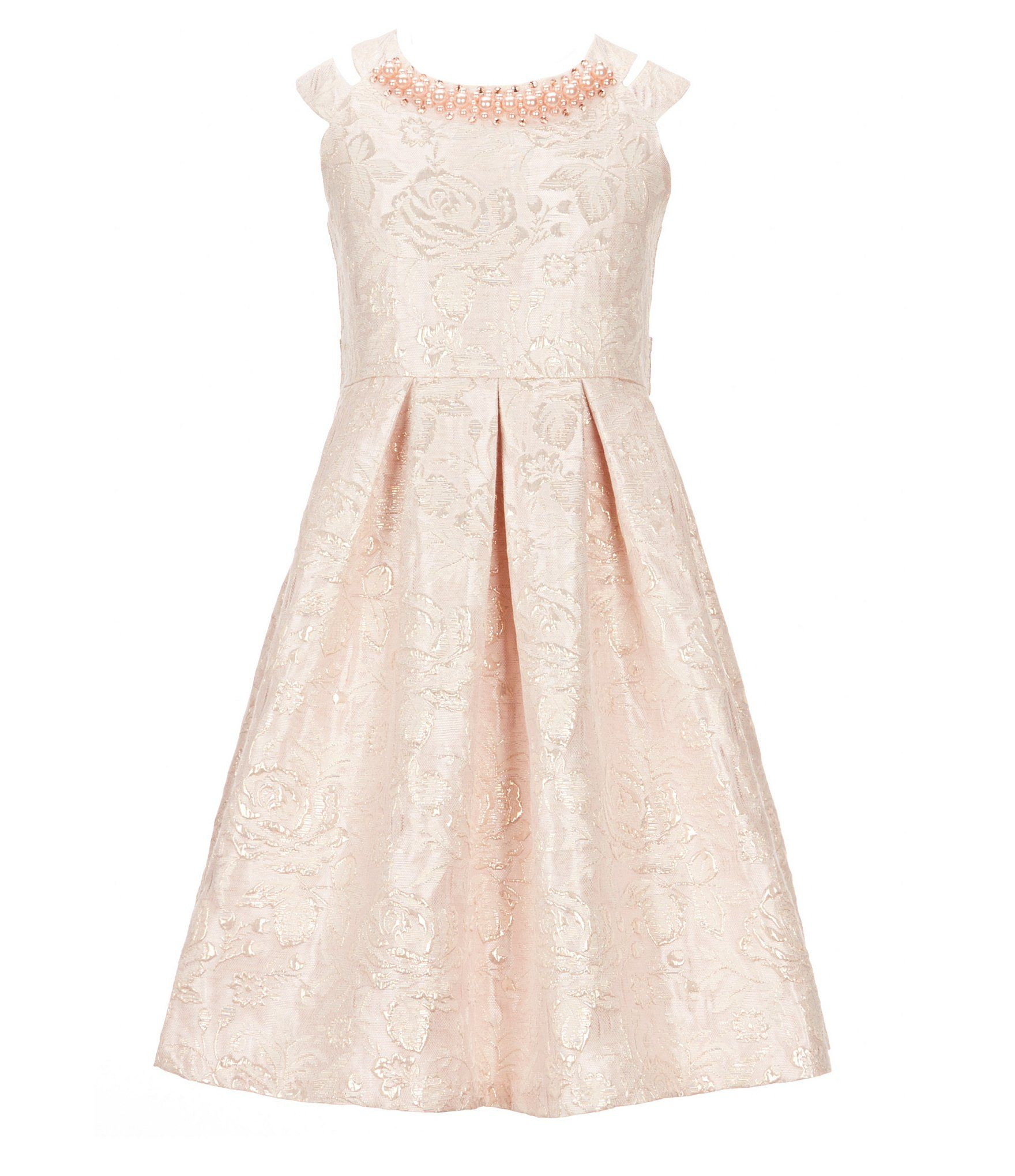 Bonnie jean big girls brocade doublestrap dress