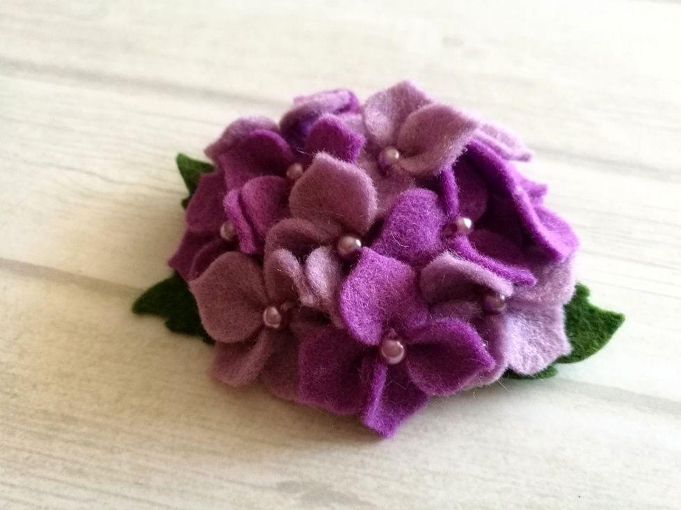 Lilac Flower Brooch Purple Hydrangea Brooch Mason Jar Crafts Diy Wine Bottle Diy Crafts Felt Flowers