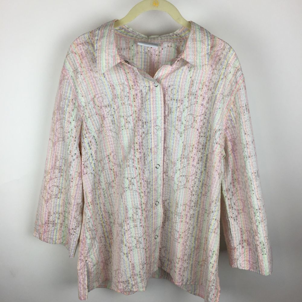 5b7b3e22db572 Alfred Dunner Women Size 16 Colorful Pastel Eyelet Short Sleeve Button  Blouse  fashion  clothing  shoes  accessories  womensclothing  tops (ebay  link)