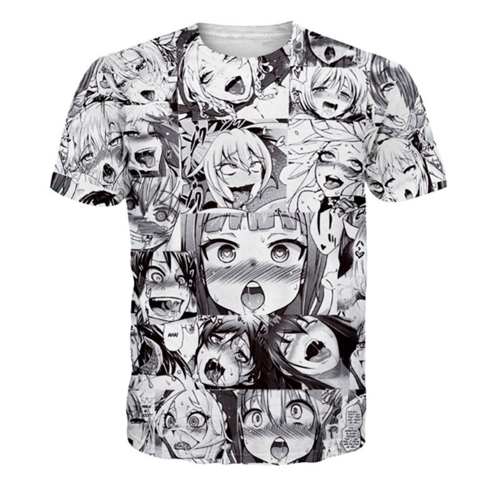 71a72c4eee3f7b Anime Ahegao Emoji 3D Print Women Men's Casual T Shirts Graphic Tee Tops  Summer