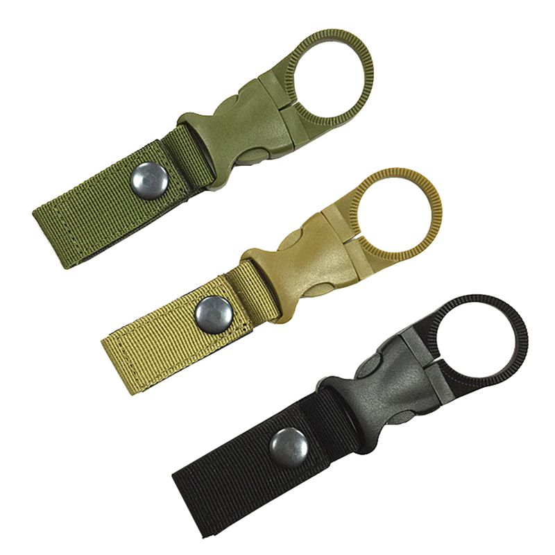 Water Bottle Holder Clip Outdoor Camping Hiking Tactical Carabiner Nylon Buckle