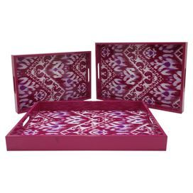 "Perfect for entertaining friends and family, this lovely 3-piece tray set showcases an ikat-inspired motif in fuchsia.  Product: Small, medium and large trayConstruction Material: WoodColor: FushiaFeatures:  Ikat-inspired motifTwo handles eachDimensions: 1.5"" H x 10"" W x 15.25"" D"