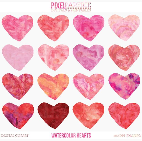 watercolor hearts valentines day clipart clip art digital ...