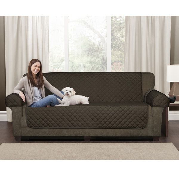 Maytex 3 Piece Waterproof Quilted Suede Loveseat Furniture Cover