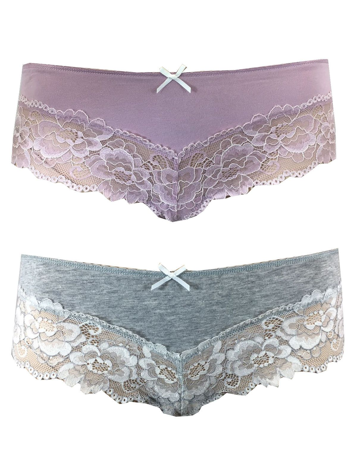 Size 8 Ex M/&S White Brazilian Knickers with Lace Detail