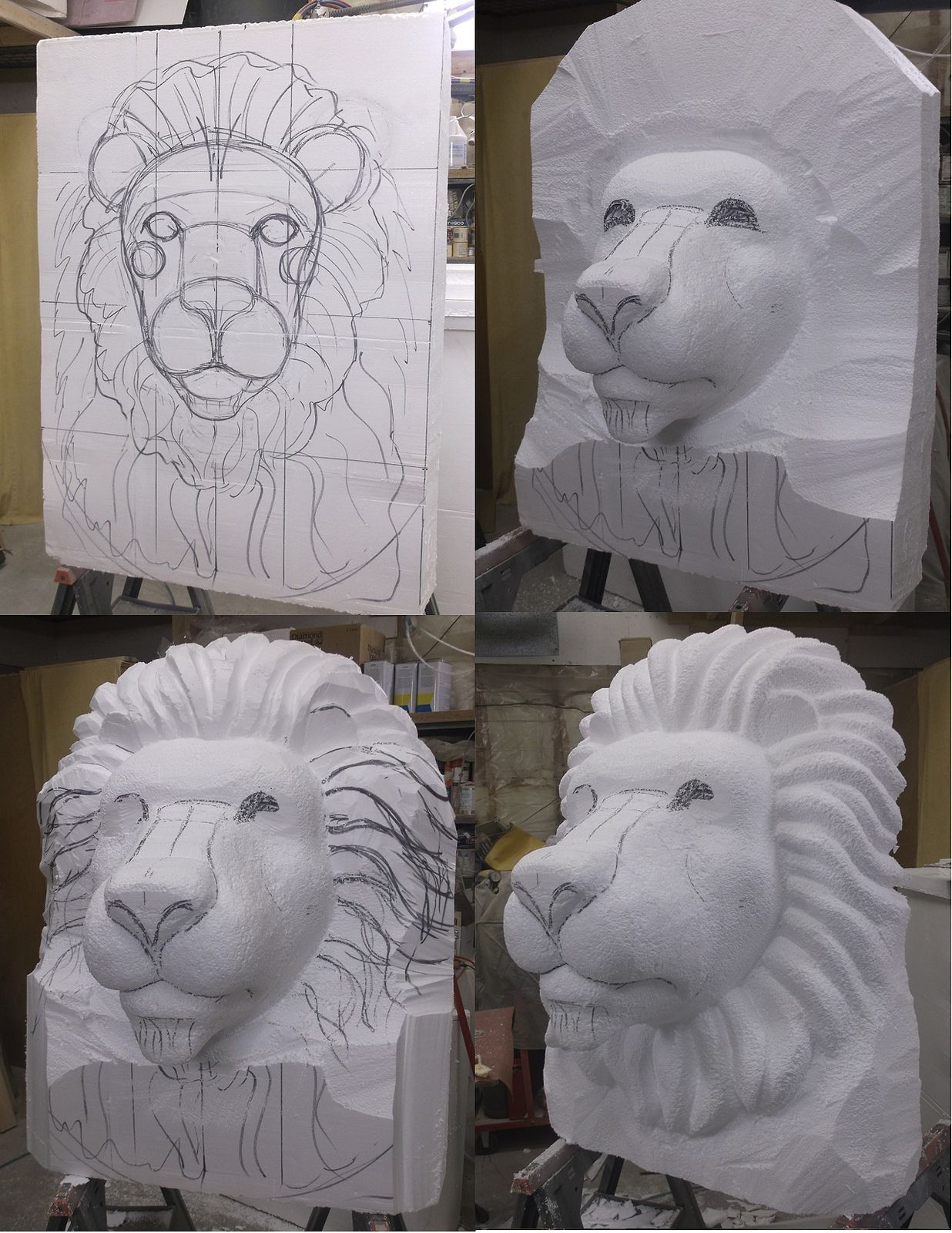 Lion Head eps foam sculpture process | Art Projects | Styrofoam art