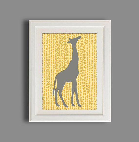 Kids Safari Print, Giraffe Nursery, Gray And Yellow Nursery Decor ...