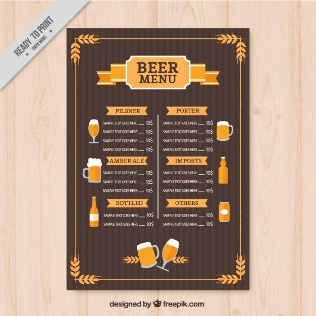 Modelo De Menu Cervejas Vintage
