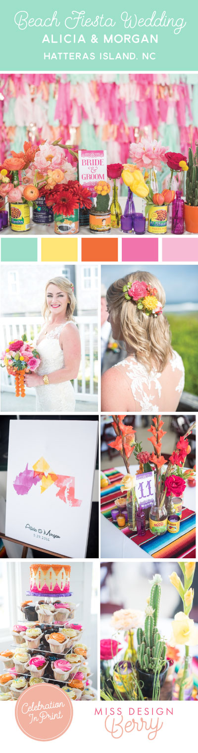Obsessed with this beach fiesta Wedding in Hatteras island, NC.