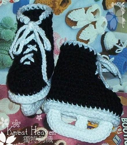 Crochet Hockey Skates Baby Booties | Sewing/knitting/crochet ...