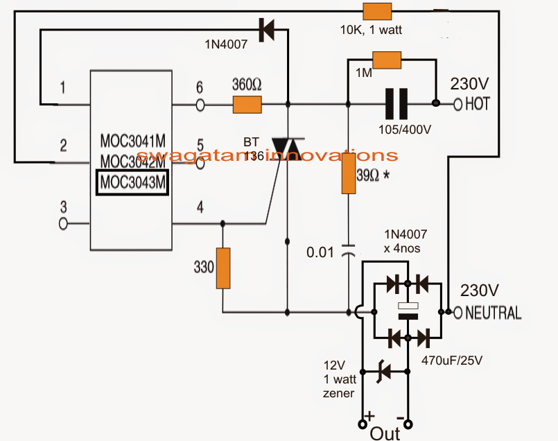 variable surge free high current transformerless power supply circuit