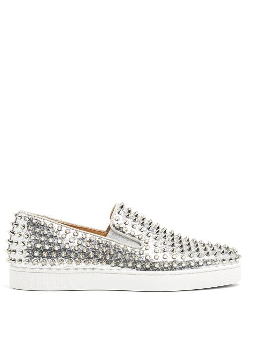 13a8edcff CHRISTIAN LOUBOUTIN Roller Boat Spike-Embellished Slip-On Trainers. # christianlouboutin #shoes #sneakers