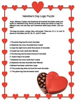 Valentine's Day Logic Puzzle for Critical Thinking Skills - Grades 6