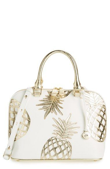 shipping and returns on Brahmin 'Vivian' Leather Dome Satchel at . Metallic pineapple appliqués add eye-catching tropical flair to a structured dome satchel shaped from richly pebbled leather with a versatile crossbody strap.