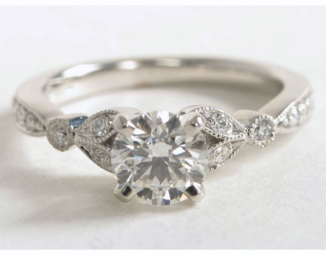 27878d709c3 Petite Vintage Pavé Leaf Diamond Engagement Ring in 14k White Gold ...