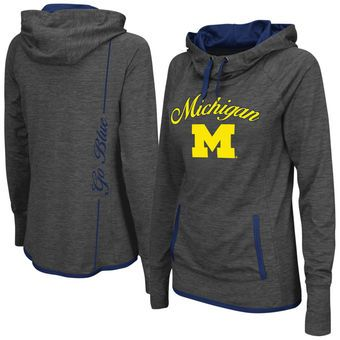 Colosseum Michigan Wolverines Women's Charcoal Buggin Pullover Hoodie #wolverines #goblue #michigan