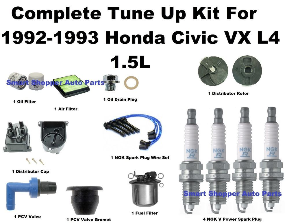 Tune Up Kit 9293 Honda Civic Vx Spark Plug Wire Set Oil Air Fuel Rhpinterest: Fuel Filter Distributor Cap Rotor At Gmaili.net