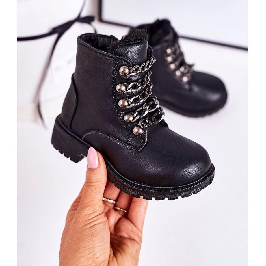 Dzieciece Ocieplane Traperki Eko Skora Lancuch Czarne Rock Roll In 2021 Timberland Boots Biker Boot Shoes