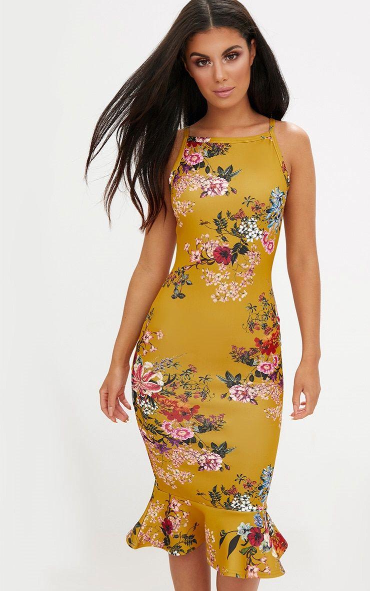 2ac2925ca9b Mustard Floral Square Neck Frill Hem Midi Dress