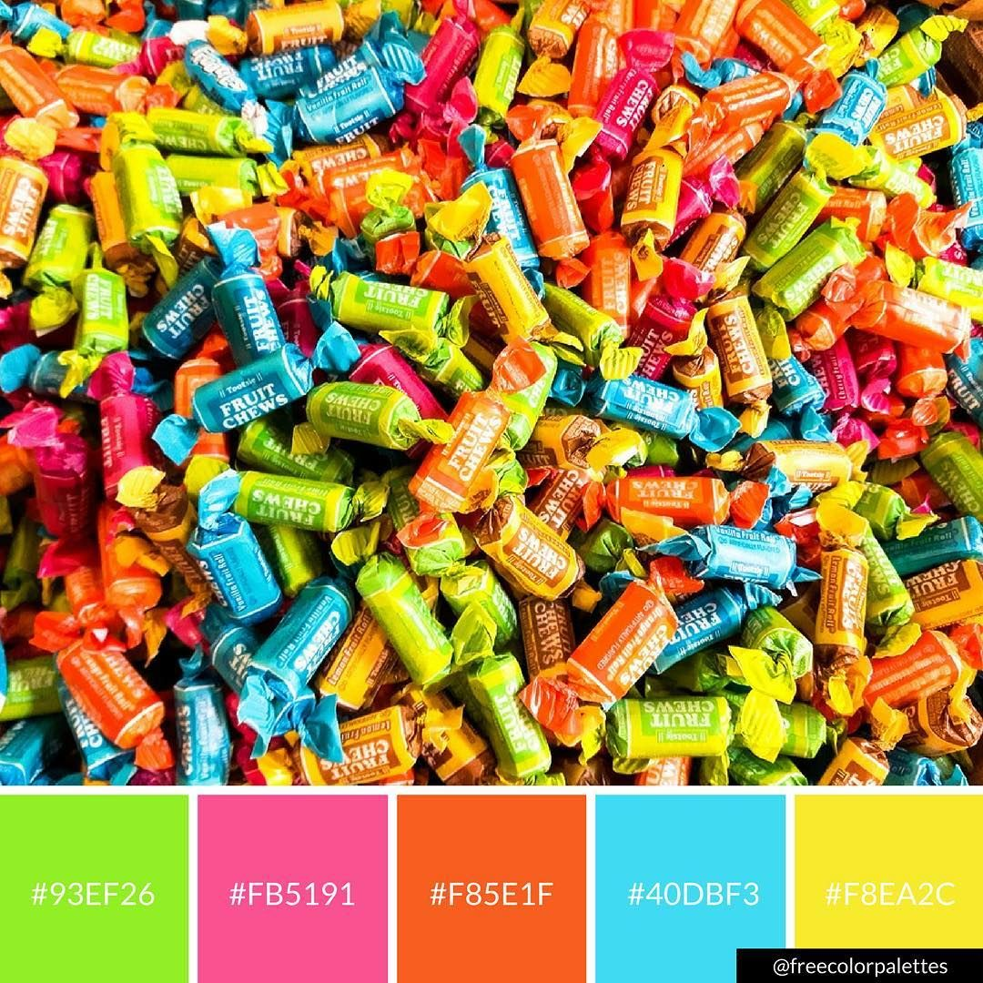 Tootsie Roll Candy Neon Rainbow Color Palette Inspiration