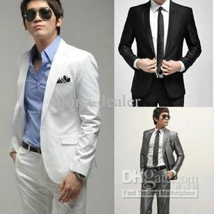 Korea style mens business suit(coat pants,black,white,silver grey ...
