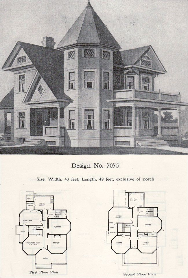 Two story plus Queen Anne with tower and turret 1908 Radford No 7075
