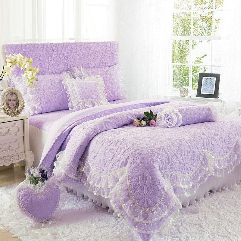 Beautiful Lavender Purple Floral Pattern Victorian Style With Quilted Bedspread Twin Full Queen Size Bedding Sets Purple Bedding Sets Purple Bedding Bed Linens Luxury