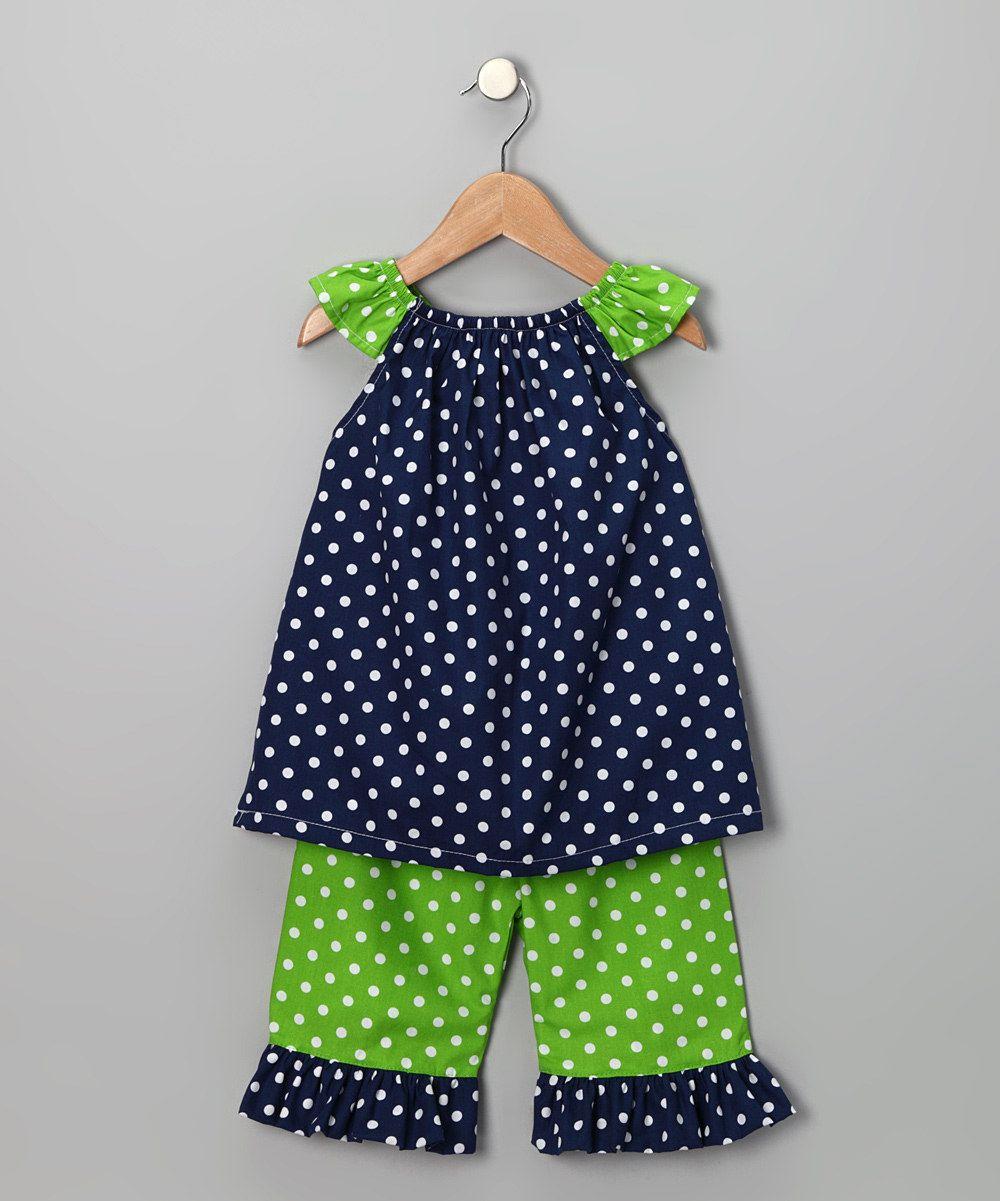 Navy & Lime Polka Dot Tunic & Pants - Infant, Toddler & Girls