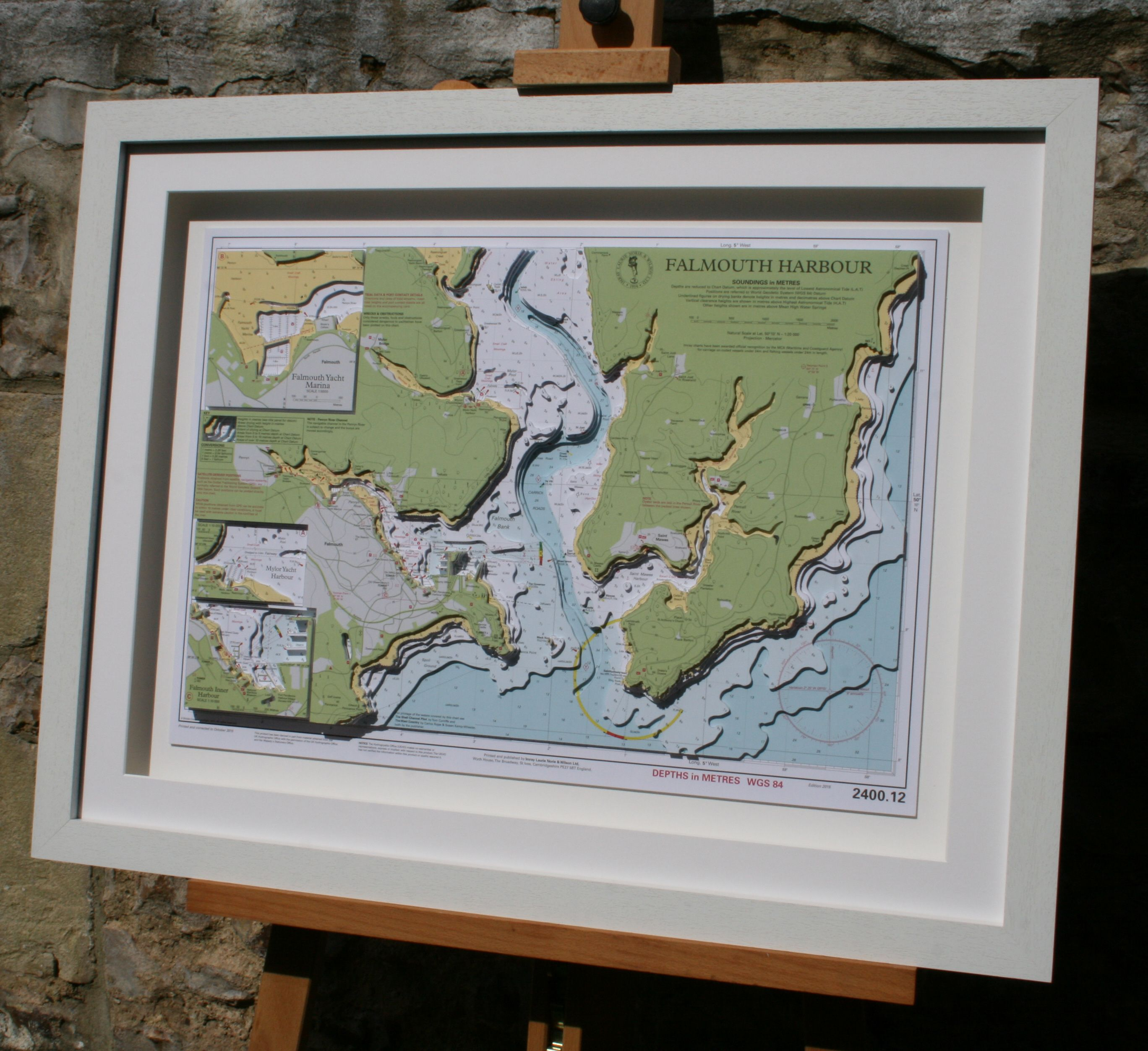 Hand cut 3D nautical map of Falmouth