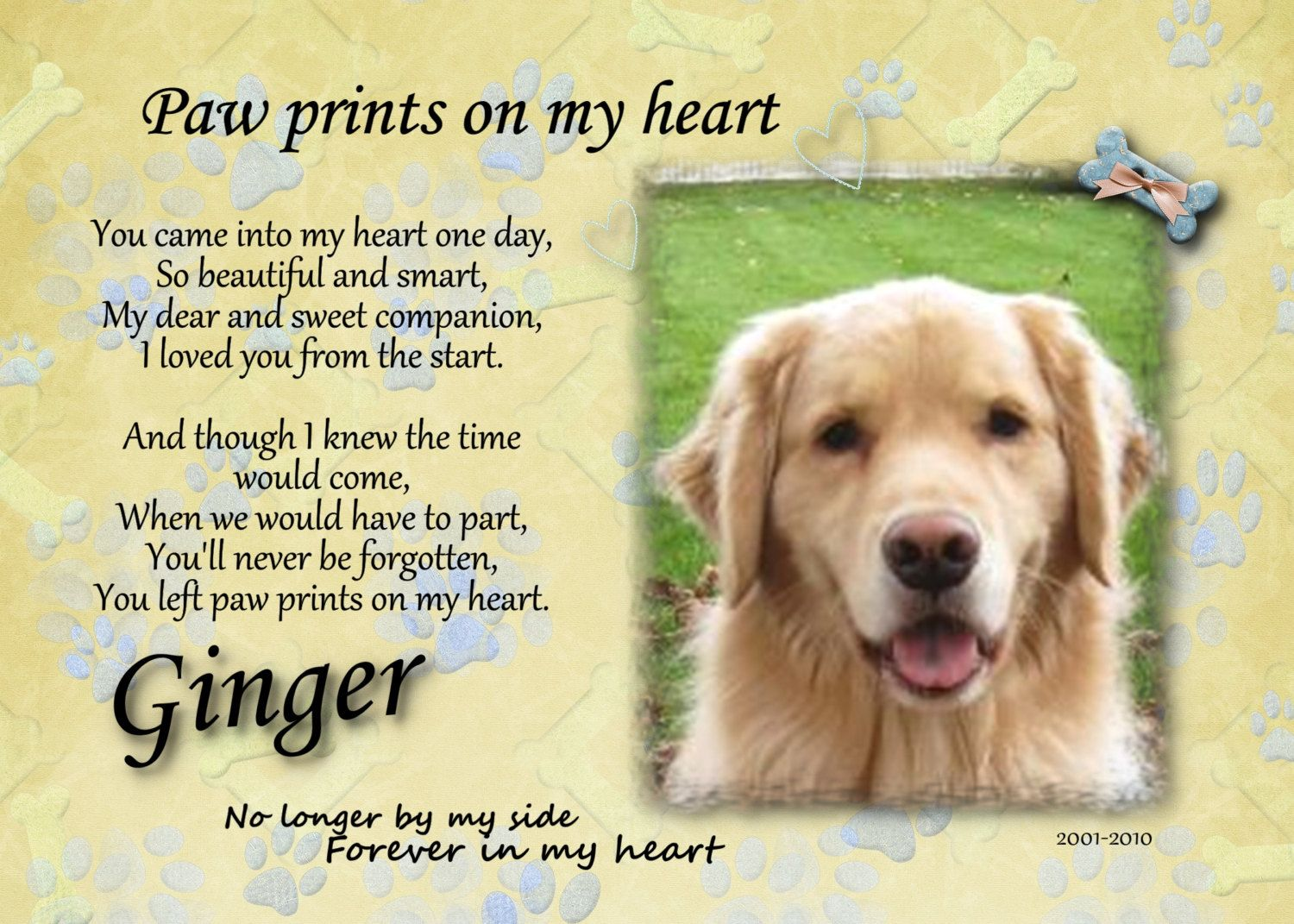 Paw Prints Left by You Poem | Request a custom order and have ...