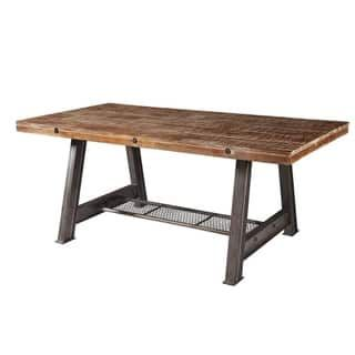 Brooklyn Round Adjustable Height Steel Oak Round Dining Table - Adjustable outdoor dining table
