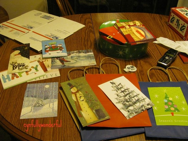 Buy cheap, plain gift bags and decorate; what to do with old xmas