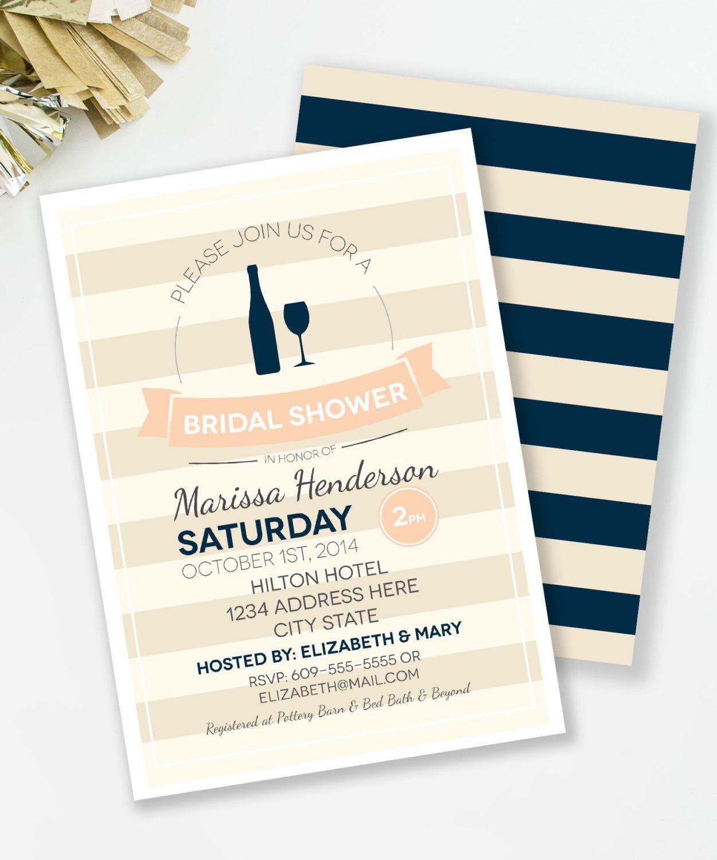 Wine Bridal Shower Invitation Cocktail Bridal Shower Bachelorette