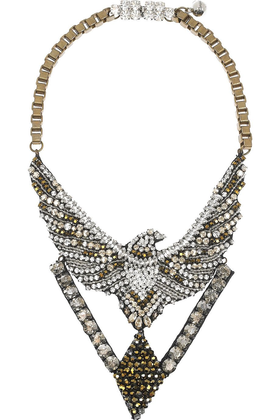 standard black shourouk by the fall gem tag necklace swarovski