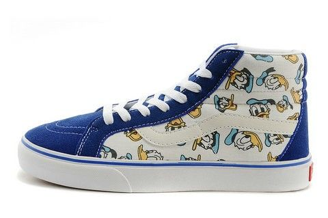 Disney Shoes Vans Donald Duck Tops High White Customize Blue 4AR3q5jL