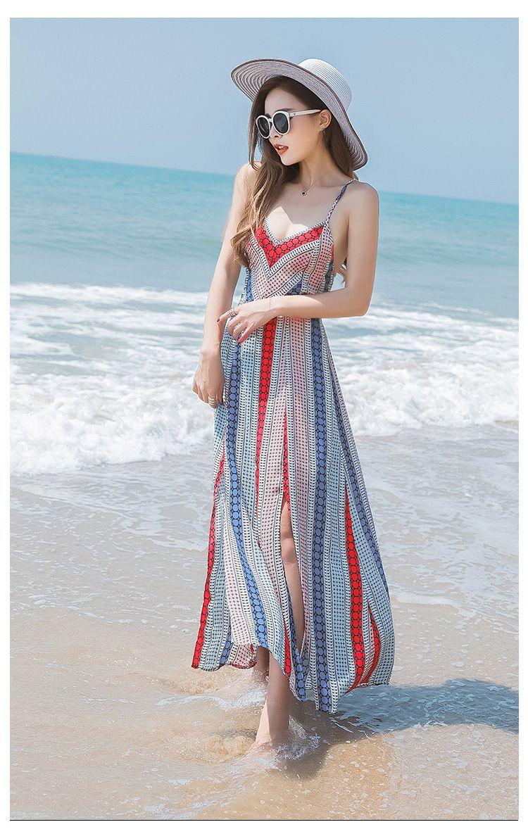 Bohemia Stripe Print Backless Beach Chiffon Dress
