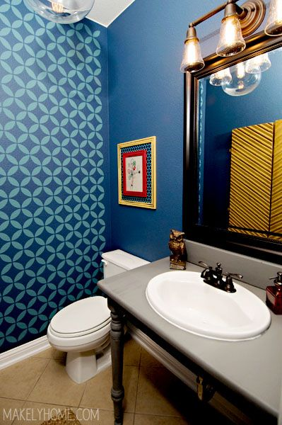 Powder Room - Home Tour via MakelyHome.com - love the blue pattern on the wall