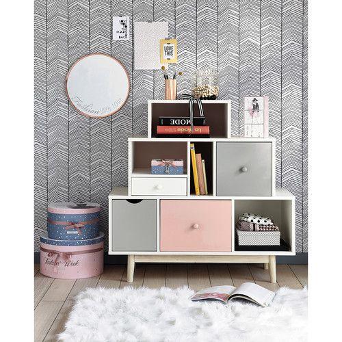 Cabinet De Rangement 4 Tiroirs Blanc Rose Et Gris Home