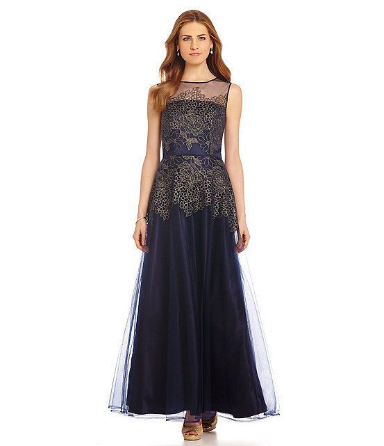 Tahari by ASL Navy Blue Gold Womens Size 8 Shimmer Lace Ball Gown ...
