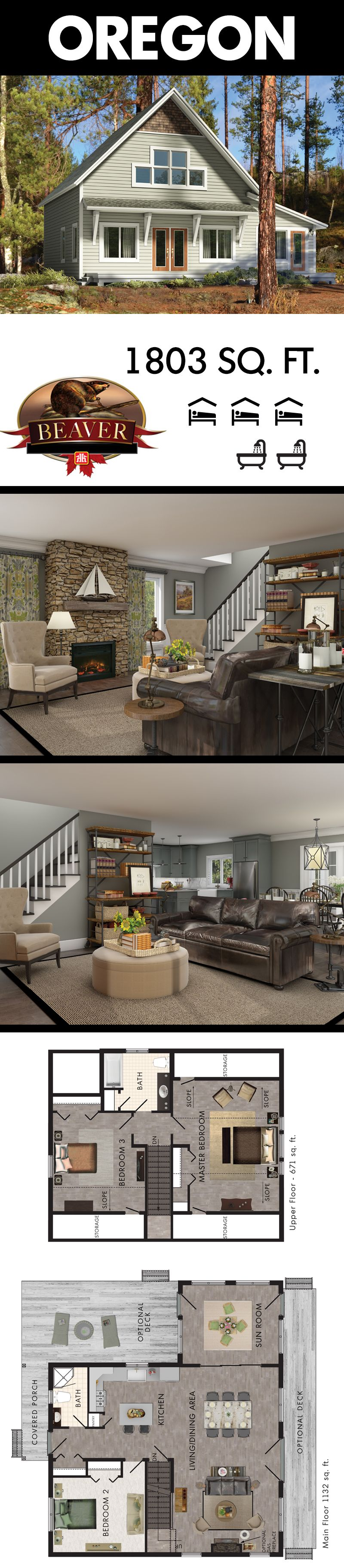 Check out the charming covered porch of Beaver Homes & Cottages' Oregon model.