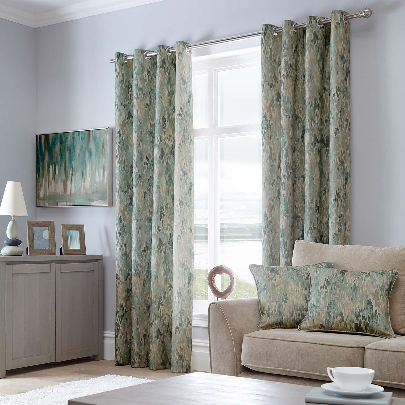 Dunelm Contemporary Seafoam Blue Waves Lined Eyelet Curtains Duck Egg Living Room Cotton