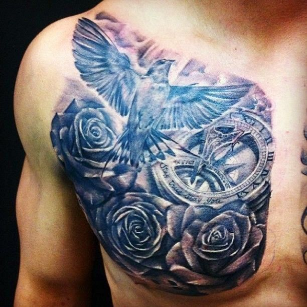 Flower And Clock Chest Tattoo Chest Tattoo Men Tattoos For Guys Chest Tattoo