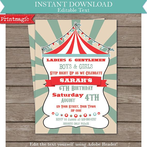 Vintage circus carnival fun fair party invitation editable text vintage circus carnival fun fair party invitation editable text invitation instant download printmagic 8 stopboris Choice Image
