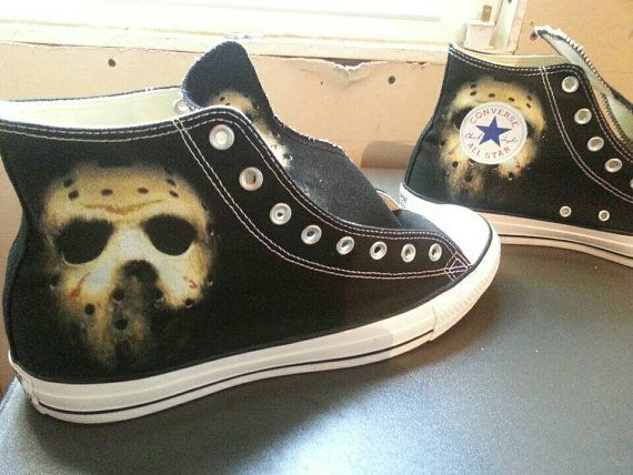 dc0d3955a34 Friday the 13th Jason Custom Converse All Stars by ArkhamPrints