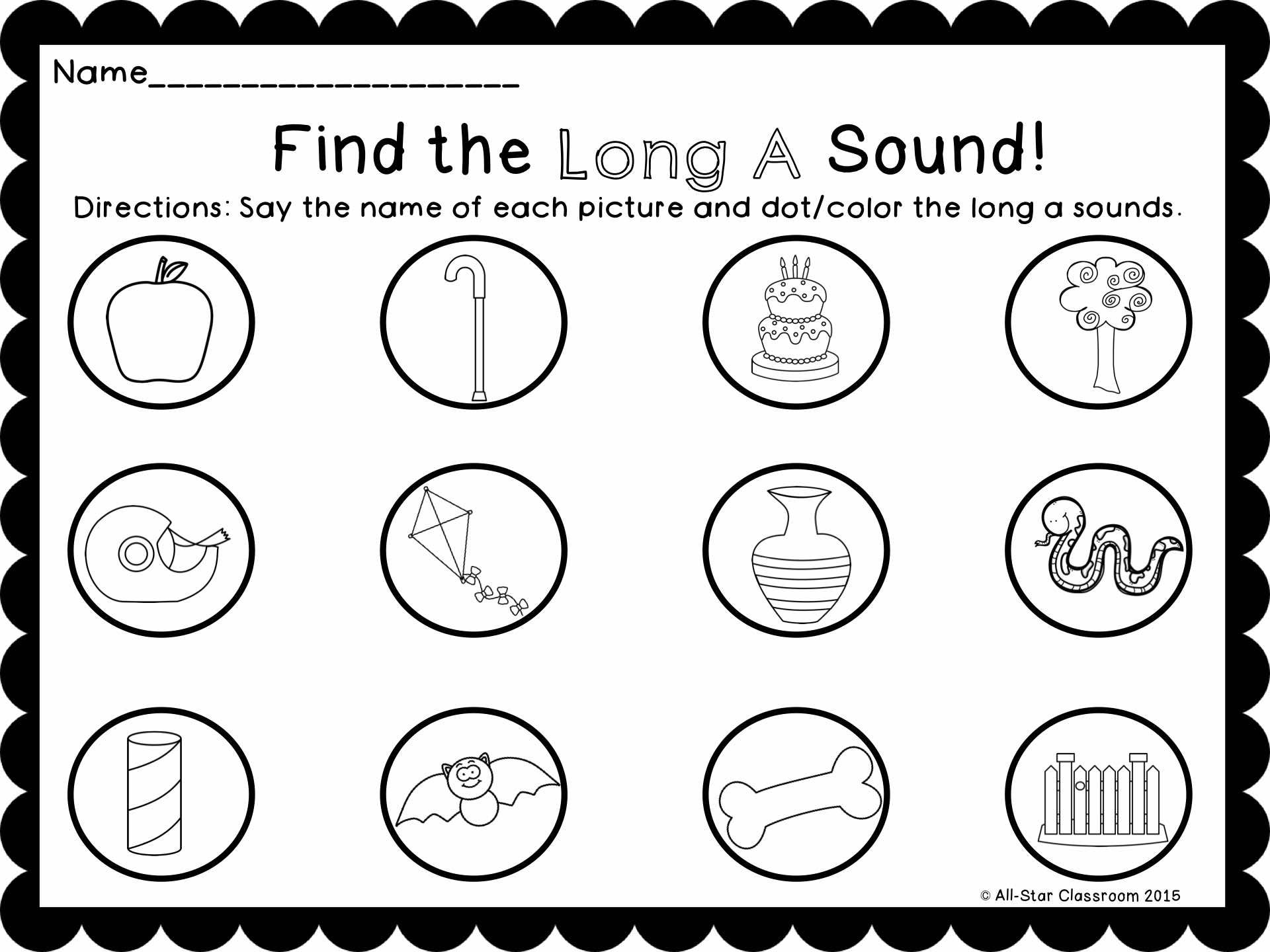Dot The Long Vowel Sound Freebie
