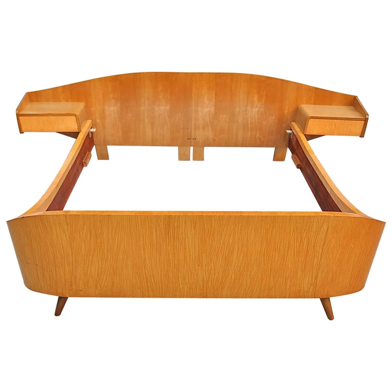 Best Mid Century Modern Double Bed With Attached Night Tables 400 x 300