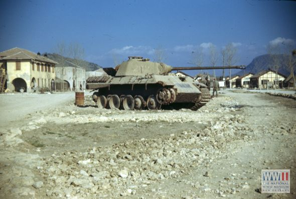 knocked out german panther tank missing track on one side ger tank