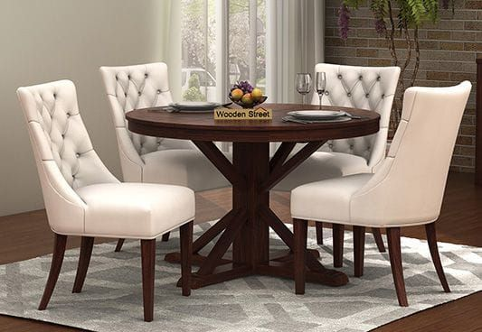 Ashford 4 Seater Dining Table Set Walnut Finish 4 Seater Dining Table Round Dining Table Sets Dining Table Design Modern